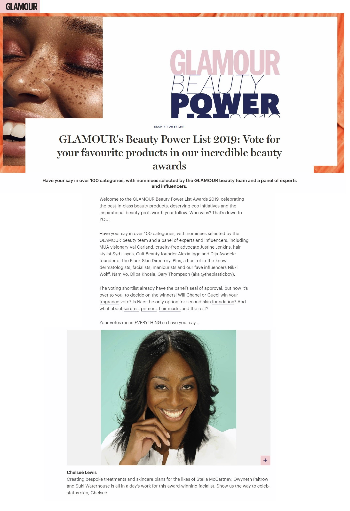 Glamour Beauty Power List