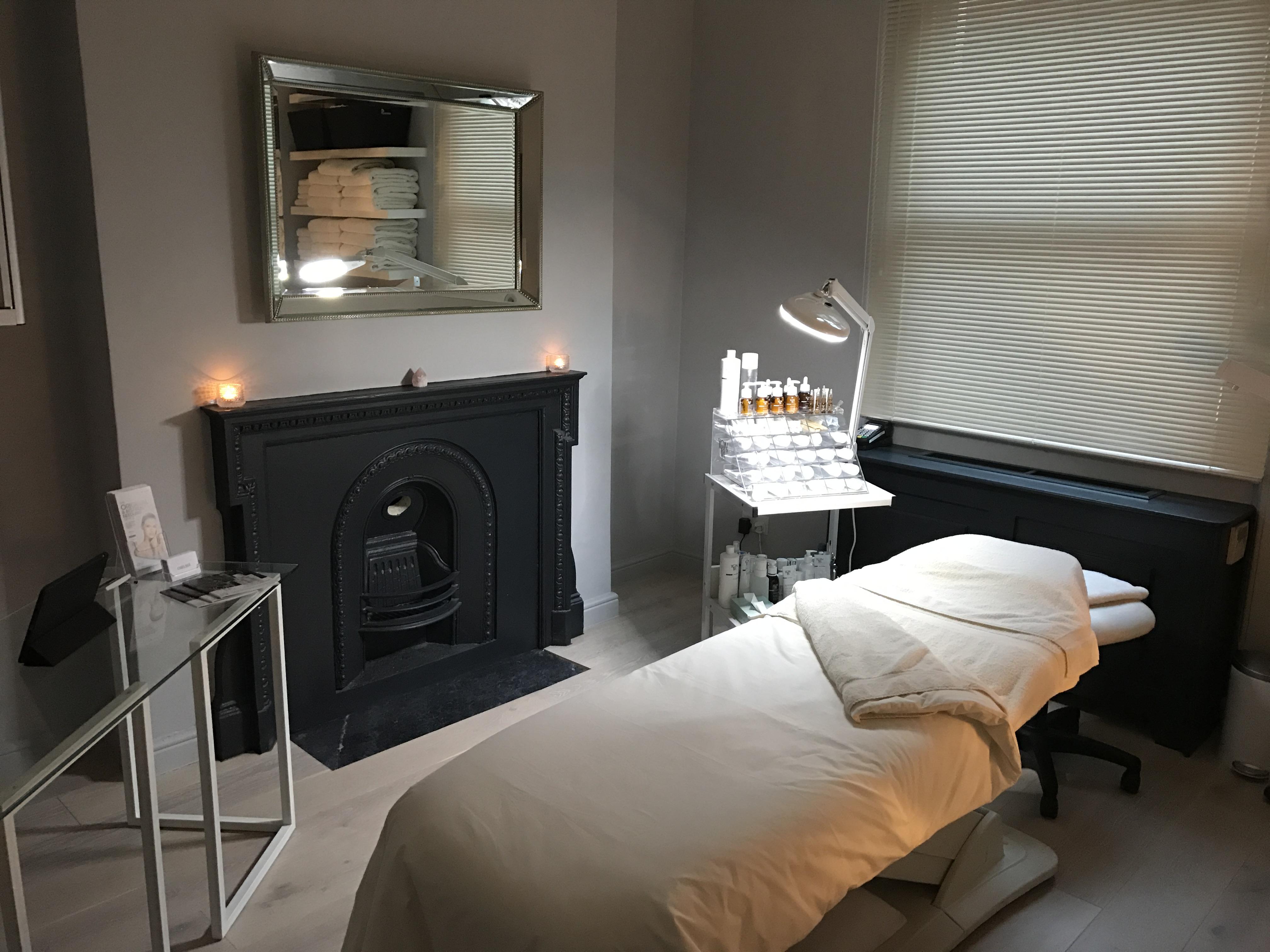 Shelf showcasing beauty treatment products
